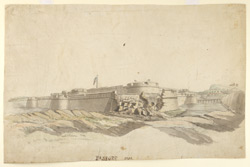 The fort of Hosur, 1792, from the south-west with breached wall and Union flag flying